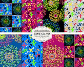 Math and Art Pattern Digital Paper, Numeric and Symbols, Circular Geometric Repeat Patterns