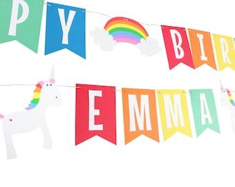 Unicorn Rainbow Birthday Banner - Rainbow Birthday Banner - Unicorn Birthday Banner - Rainbow Name Banner - Unicorn Name Banner