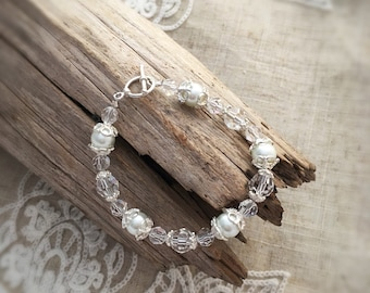 Pearl and crystal sterling silver bracelet