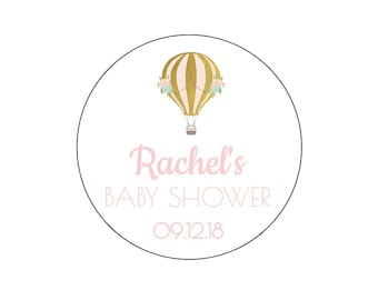12 Hot Air Balloon Shower Stickers, Baby Shower, Airplane Theme, Transportation, Hot Air Balloon, Girl Shower, It's a Girl, Favor Tags