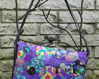 Messenger Bag - Appliqued Purple Batik