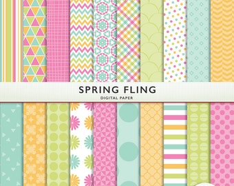 Digital Paper - Spring Fling- 20 Sheets - Scrapbooking Instant Download Personal Commercial Cardstock G7554