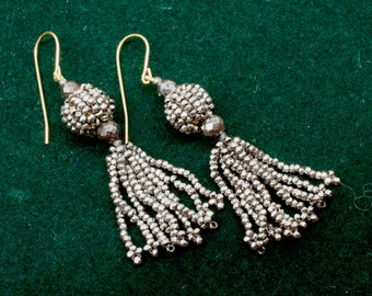 Antique Cut Steal Earrings With Gold Wires c. 1870