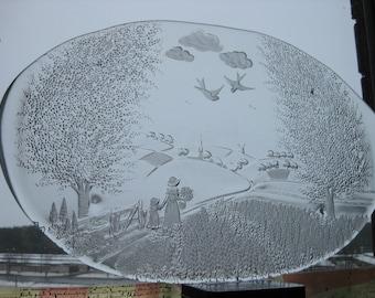 Vintage Scandinavian Pukeberg Art Glass Cheese Sushi Hors D'oeuvre Platter Country Landscape