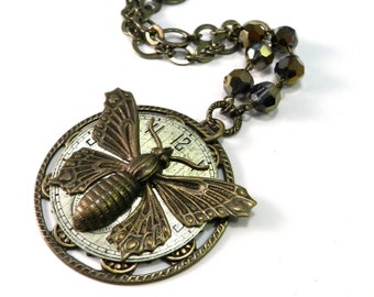 Steampunk Necklace Clockwork Butterfly Silver and Gold Watch Dial, Steampunk Statement Necklace