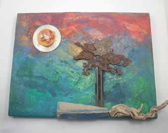 Original Art Mixed Media Assemblage FLORIDAY Colorful Painting Found Objects Rusty Metal Driftwood Enamel Flower