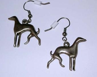 SueBero Pewter Greyhound Dog Silhouette Earwires