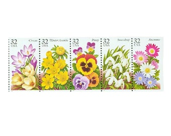 Pack of 20 Unused Winter Garden Flowers Stamps -  32c - Unused Postage Stamps - Quantity of 20