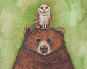 Nursery Art, Bear and Owl art print