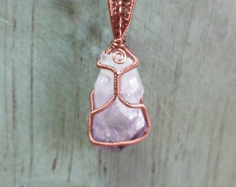 Amethyst crystal point copper wire wrapped pendant
