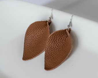 Brown Pinched Leather Earrings