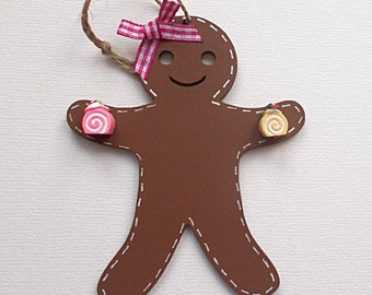 Wooden Gingerbread Girl with Resin Cakes