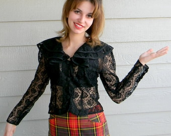 Vintage Lace Blouse 80s Black Ruffle Collar. Party Blouse. Mad Men Fashion. Lace Top. Mother's Day gift.