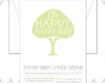 Oh Happy Day Modern Tree Wedding Invite