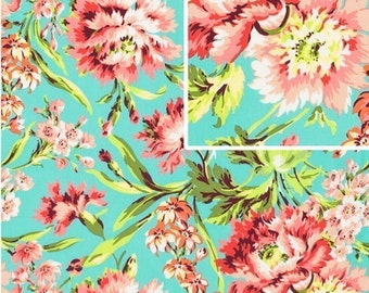 LOVE  Bliss Bouquet in Teal by Amy ButlerFabric  1 yard Love Collection / Sewing /  Quilt Fabric