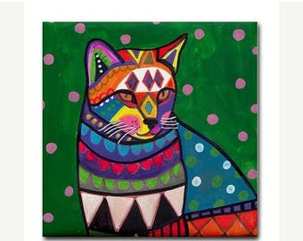 SALE ENDING- CAT art Tile Ceramic Coaster  Folk Art Print of painting by Heather Galler    cat Gift