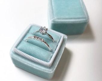 Handmade Velvet Double Ring Box (Small) - Erin Blue