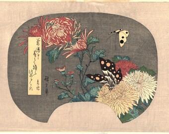 "Japanese Ukiyoe, Woodblock print, Hiroshige, ""Chrysanthemums and Butterfly"""