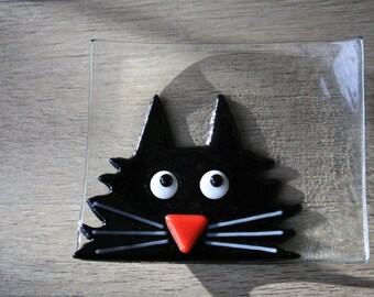 Soap Dish / Spoon Rest - Fused Glass Black Cat