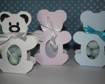 Set of 10 boxes favors personalized Teddy bear