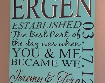 """You and Me Became We 12x12"""" Wedding Date Sign"""