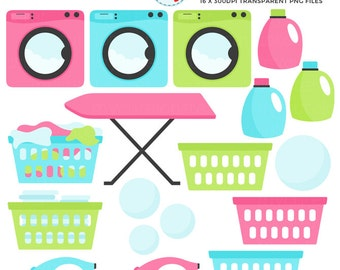 Laundry Clipart Set - clip art set of laundry, washing machine, detergent, ironing - personal use, small commercial use, instant download