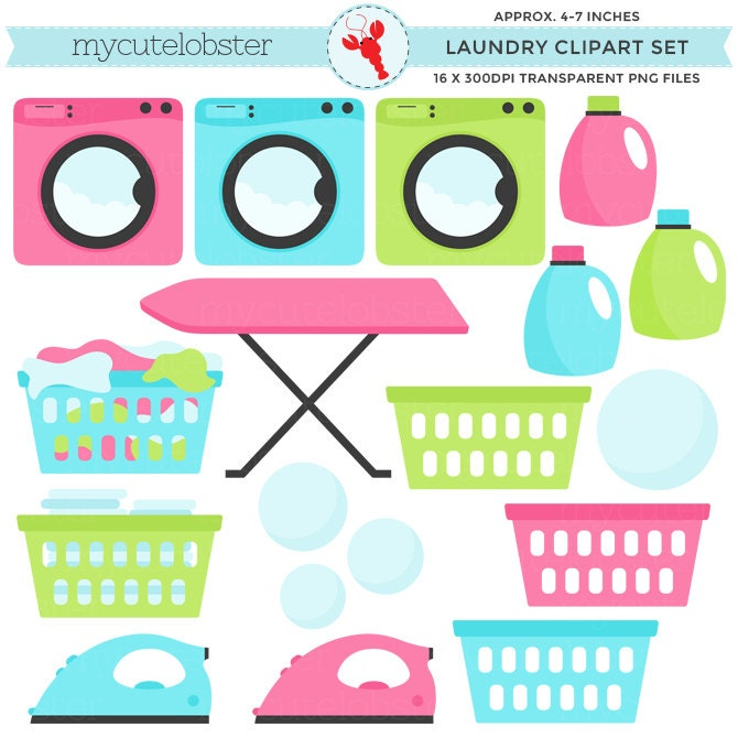 laundry clipart set clip art set of laundry washing rh etsy com laundry clipart png laundry clipart images free