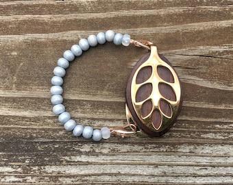 SALE ITEM!!! Gray Mala bead bracelet for the LEAF by Bellabeat