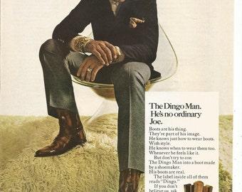 1970 Advertisement Joe Namath Dingo Boots NFL Football 70s Star  Broadway New York Jets LA Los Angles Rams Collectible Wall Art Decor