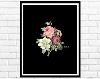 Rose Print, Vintage Flowers Printable Art, Wall Decor, Roses Vintage Illustration, Flower Prints, Wall Decor INSTANT DOWNLOAD - 1092