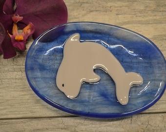 Dolphin Soap Dish, Fused Glass, Beach Theme, Ocean Theme, Trinket Dish, Sponge Holder, Tea Bag Holder, Kitchen Decor, Bathroom Decor