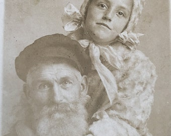Vintage RPPC Little Girl & Her Papa Sweet Antique Real Photo Postcard