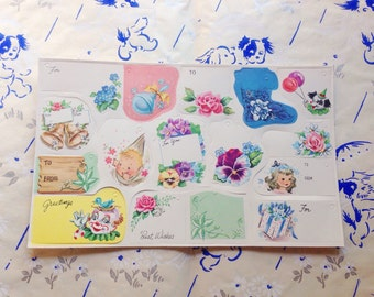 CLEARANCE! 1950s new old stock sheet of all occasion gift tags / vintage gift wrapping tags / vintage gift tags / 1950s gift tags