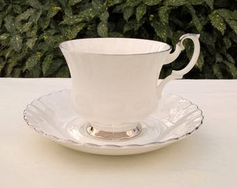 "Royal Albert Bone China England, ""'Chantilly"", Vintage Teacup and saucer, Men size teacup, Afternoon tea"