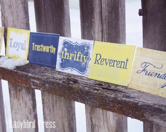 Printable Blue and Gold Scout Law name cards - Boy Scout Law  - Blue and Gold Banquet - Center Piece - Cub Scout - Instant Download - PDF
