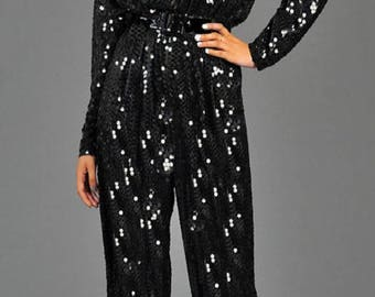 "Sequin Stretch Dolmen Sleeve Jumpsuit ""Made to Measurement"""