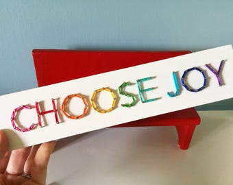 MADE TO ORDER String Art 'Choose Joy' Single Line Strung Sign, Rainbow Mini Block