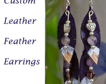 Custom Leather Feather Earrings