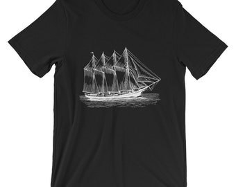 An old ship Unisex T-Shirt | Clothing | Match | Mini Me | Shirts | Tops and Tees | For Gift | Birthday | Unisex | Ringer T-Shirt