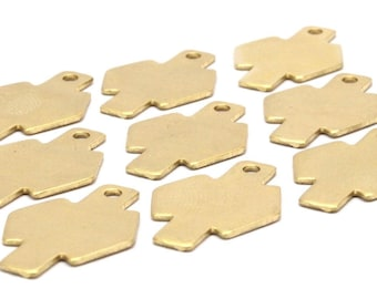 12 Raw Brass Stamping Blanks 24.5x17x0.80 A0785