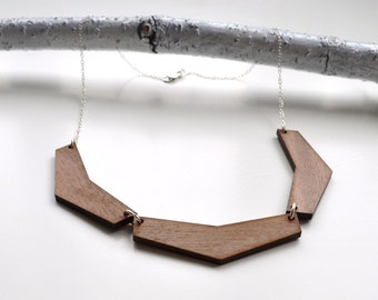 Triple Chevron Contemporary Walnut Wood Necklace with Silver Chain - geometric wooden necklace - chevron wooden pendant - walnut necklace