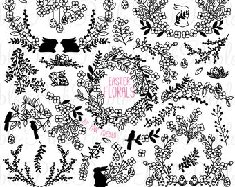 Vintage Easter Floral Silhouettes Clipart Clip Art, Easter Laurel Wreath Clip Art Clipart Vectors - Commercial and Personal Use