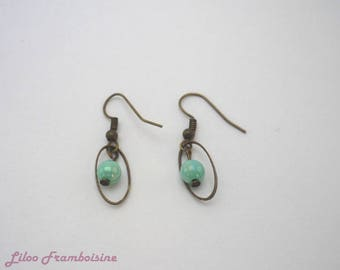 Green Freshwater Pearl and bronze earrings