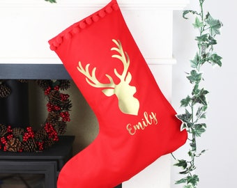 Personalised Christmas Name Stocking   Red and Gold Reindeer Stocking with Name   Extra Large Stocking   Personalized Xmas Stocking  