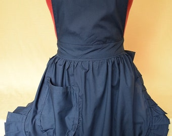 Retro Vintage 50s Style Full Apron / Pinny - Navy