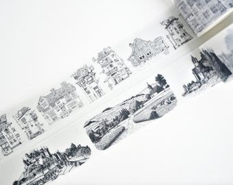 Black and White Buildings Washi Tape, Scenery Washi Tape, Japanese Washi Tape, Masking Tape - WT400