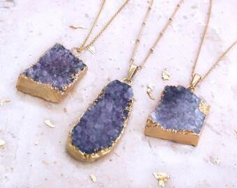 Purple Druzy Pendant Druzy Quartz Jewelry Amethyst Necklace Druzy Necklace
