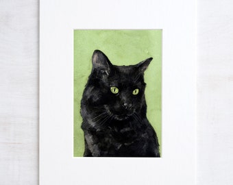 Black Cat Watercolor Painting 5x7 Print