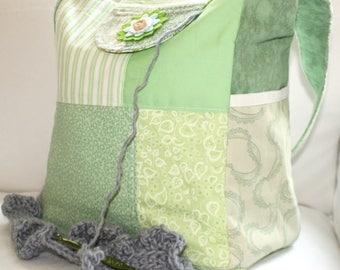 Patchwork bag, Knitting Bag, Vinyl Interior, Lots of Pockets, crochet tote, yarn dispenser, OOAK, Spring purse, girl bag, small handbag,