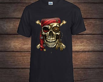 Pirate skull T-shirt/ pirate shirt/pirate gift/t shirts/tshirts/skull/skull gifts/gift for her/gift for him/gifts/graphic tee/tees